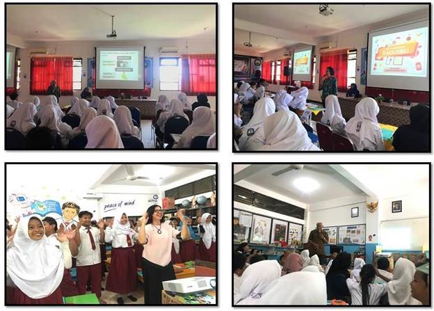 pelaksanaan kegiatan pengabdian kepada masyarakat, pada sesi pemberian materi presentasi dan senam DAGUSIBU, yang dilakukan di SMPN 19 Surabaya (atas) dan SDN Keputih 245 Surabaya (bawah) pada tanggal 16-17 September 2019.
